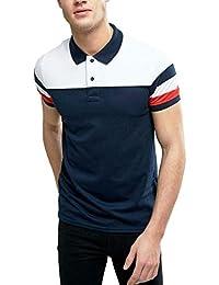 DEXTER Men's Cotton Plain Half Sleeve Polo T-Shirt (White Blue)