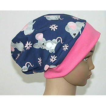Mütze Beanie – Mäuse und Blumen – Kinder Mädchen rosa, blau