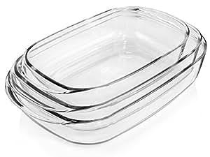 Bluespoon Auflaufformen aus Borosilikatglas 3er Set   Füllmengen der Gratinformen 2,5 L, 3,75 L, 4,5 L   Kochgeschirr aus Glas   Backofenformen in 3 verschiedenen Größen