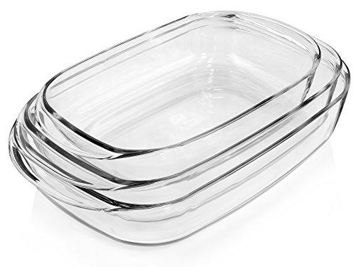 Bluespoon Auflaufformen aus Borosilikatglas 3er Set | Füllmengen der Gratinformen 2,5 L, 3,75 L, 4,5 L | Kochgeschirr aus Glas | Backofenformen in 3 verschiedenen Größen