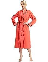 Raikou Damen Fleece Bademantel , Morgenmantel , Saunamantel Badekleid mit Knöpfen,geknöpft, hübsches Satindesign,flauschig weich,verschiedene Farben Microfasser