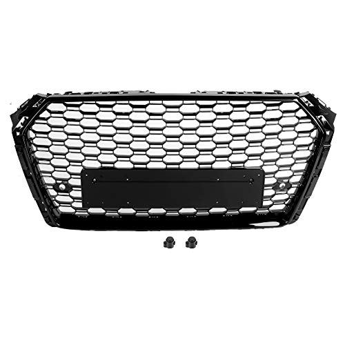 KIMISS Fronthaube Mes Stoßstangengrill, Car RS4 Style Mesh Grillgrill Schwarz Fit für A4/S4 B9 2017-2019