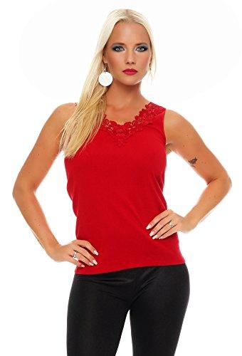 Hochwertiges Damen Träger-Top mit großer Spitze Nr. 416 (Oberteil / Unterhemd / Träger-Shirt) 100% Baumwolle Rot