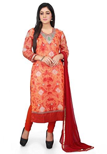 Utsav Fashion Tie N Dye Pure Kota Silk Straight Cut Suit in...