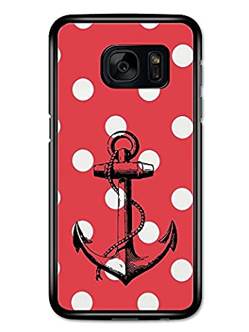 Black Anchor on White and Red Polka Dot Spot Background Hipster coque pour Samsung Galaxy S7