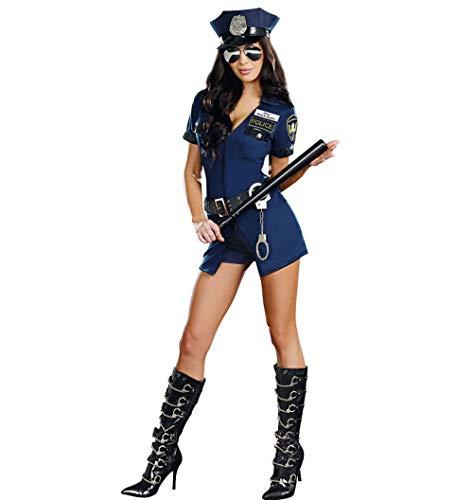 Polizistin Sexuelle Uniform Versuchung Blauer Reißverschluss Polizei Pack Halloween Karneval Party Kleid Spiel Anzug Rollenspiel