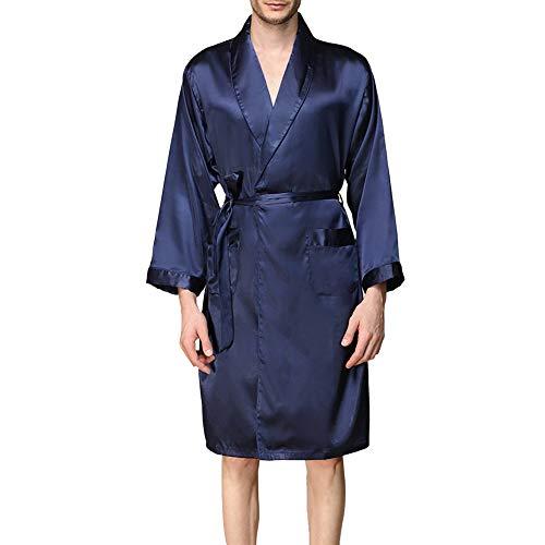 wenyujh' Peignoir de Bain en Satin Homme Été Robe de Chambre et Kimonos avec Poche Chemises Vêtement de Nuit Demoiselle Pyjama Mode