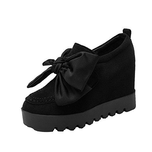 AgooLar Femme Rond Tire Suédé Couleur Unie à Talon Haut Chaussures Légeres Noir