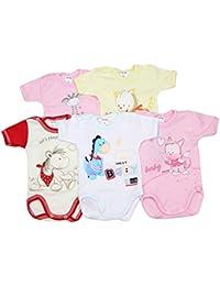 TupTam Body Manga Corta para Bebé Estampado, Pack de 5