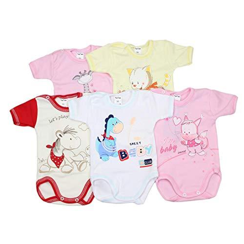 TupTam Unisex Baby Kurzarm-Body mit Aufdruck Spruch 5er Set, Farbe: Mädchen, Größe: 74