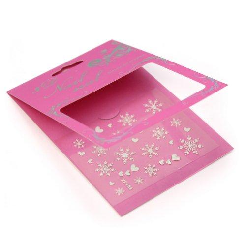 Fashion Nail Noël Art 3D Autocollant Coeur Flocons Neige Glitter Sticker Décor