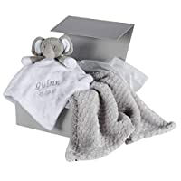 Personalised Embroidered Baby Elephant Comforter & Blanket Gift Set in Gift Box Silver