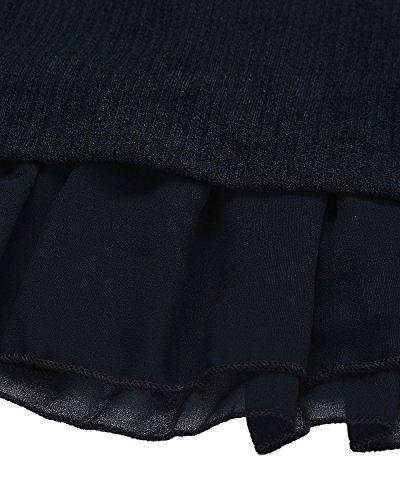 StyleDome Damen Stricken Chiffon A-line Lace Quaste Beiläufigkeit Langarm Casual Jumper Mini Kleid Lose Pullover Blau