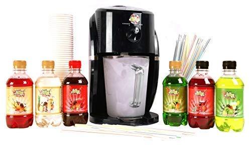 Lickleys Cono de Nieve Hielo Afeitadora / Granizado Maker Hace Home Hielo Bebidas, (Negro Máquina con Cóctel Paquete de 6)