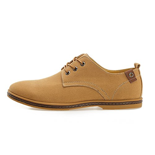 homme Chaussures toile - TOOGOO(R)Chaussures ville homme garcon toile Noir Chaussures de toile Canva Oxfords Shoe FR 39(Taille Fabricant 38) Lumiere tan