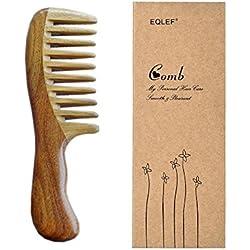 EQLEF® verde de madera de sándalo de dientes anchos sin peine hecho a mano estática, la calidad del peine de madera rizos