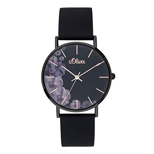s.Oliver Damen Analog Quarz Uhr mit Silikon Armband SO-3708-PQ