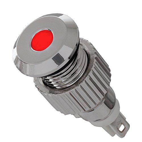 12V LED Signalleuchte IP67 rot mit 8mm Metallfassung Signallampe - Led-meldeleuchte