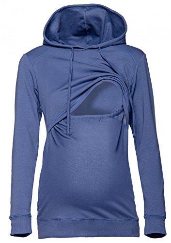 Happy Mama. Damen Kapuzenpullover Stillzeit Top Zweilagiges Sweatshirt. 272p (Jeans, EU 40, L) - Denim-bh-top -