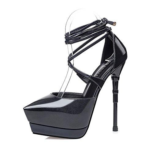 FLYRCX Unione sexy bendaggio impermeabile ha sottolineato stilettos ladies scarpe di cuoio. D
