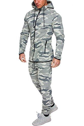 Amaci&Sons Camouflage Herren Sportanzug Jogginganzug Trainingsanzug Sporthose+Hoodie 1007