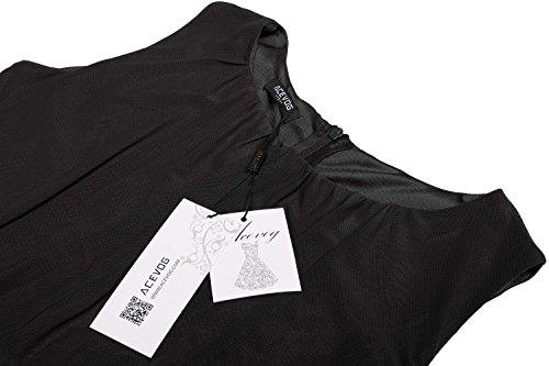 ACEVOG Damen Elegant Spitzenkleid Sommerkleid Cocktailkleid Brautjungfernkleid Knielang Ärmellos B Schwarz