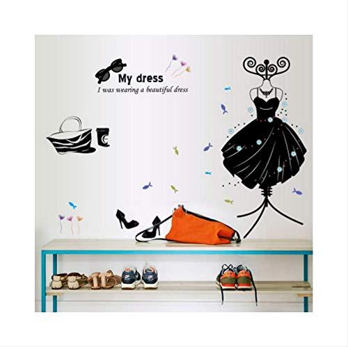 Luzhenyi Waren Kleidung Schuhe Hüte Wohnzimmer Schlafzimmer Dekoration Schwarze Wandaufkleber Auf Der Wand Brille Kleiderbügel 110X83 Cm