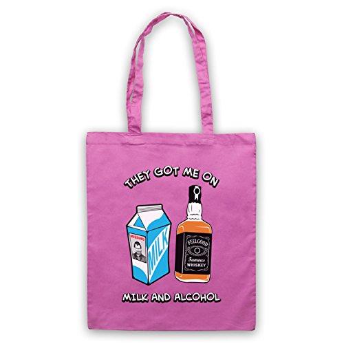 Inspiriert durch Dr Feelgood Milk & Alcohol Inoffiziell Umhangetaschen Rosa