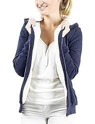 Damen Hoodie Kapuzenpullover Pullover Jacke Sweatjacke Sweater Sweatshirt mit Kapuze Sherpa Fleece gefüttert warm blau