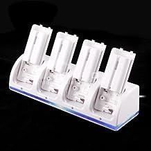 Andoer® Cargador de mando a distancia 2800mAh 4 Estación con 4 Baterías para Wii (Cargador blanco del mando)