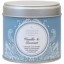 Shearer Candles Vanilla and Coconut Large Scented Silver Tin Candle - White