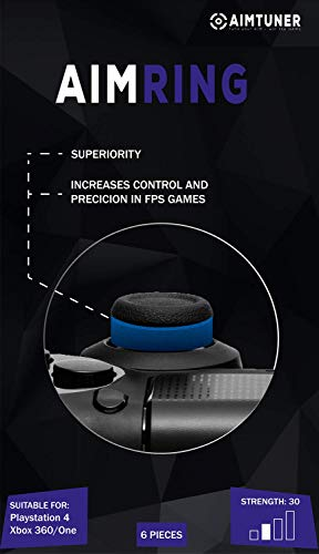 AIMTUNER 6 Blaue Schaumstoff-Ringe zur Verbesserung deiner Zielsicherheit - PS4 Aim Assistance Stoßdämpfer - Zielhilfe für FPS Spiele - Analogstick Tuner für Playstation und Xbox One & 360