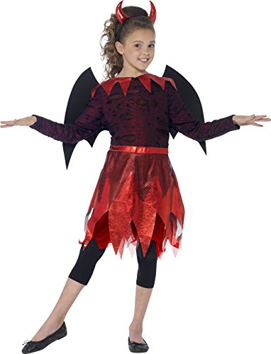 Smiffys, Kinder Mädchen Teufel Deluxe Kostüm, Kleid mit Flügeln, Schwanz und Hörner, Größe: S, 44286