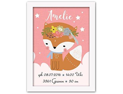 Geburt und Taufe Kunstdruck Poster Fuchs rosa Geschenk Taufe Babygeschenk