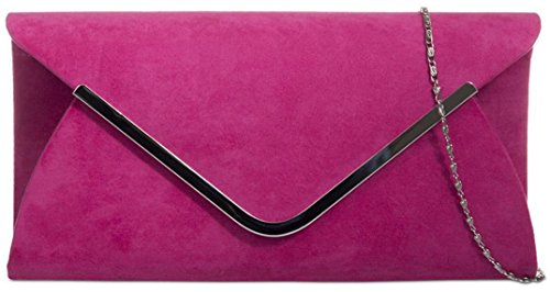 Ladies Classic Medium Sized Faux Suede Envelope Clutch Bag with Contrasting Trim - Fuchsia (Clutch Front Flap)