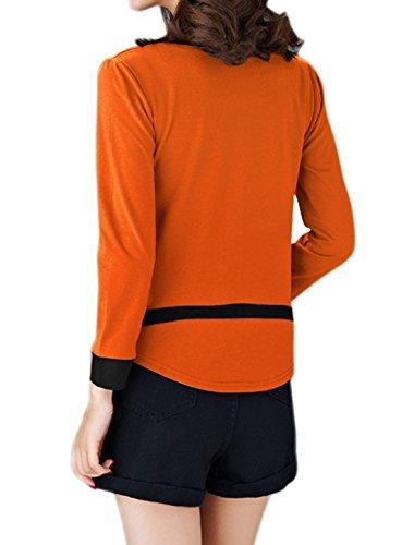 sourcingmap Femme Manches Longues Couleur De Contraste Ourlet Courbe Haut Sweat-Shirt Orange