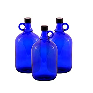 Glass balloon Bottle Gallon Blue glass Bottle 2 Liter or 5 Liter Screw cap Synthetic black - Henk eleven tab blue glass, ideal for Aquadea Crystal - Swirl Water, Two Litre or Five Litre - 3 x 2 Liter