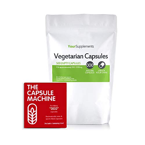 Your Supplements - Capsule Machine Kapselfüller Gr. 000 & Leerkapseln (500 Vegetarische Leerkapseln) - Gel-kapseln 00