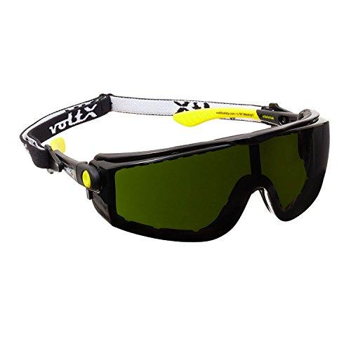 voltX 'Quad' 4 in 1 Schutzbrille - Schweißertönung 5 - mit Schaumeinsatz und abnehmbares Kopfband - CE EN166f Zertifiziert
