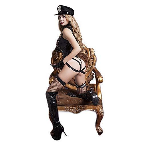 Weibliche Schwarzen Superhelden Kostüm Mit - roroz Sexy Polizei KostüM Schwarz Lederstrumpfhose Set, Undichter Arschstring Constraints Lingerie Sexy Uniform Cosplay Sexy Dessous, Flirten, Sexuelle Stimulation Sexuelle Liebe