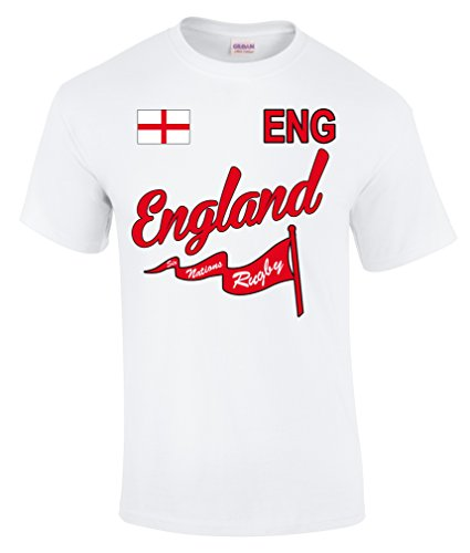 Six Nations Rugby Fan T-Shirt Erwachsene Gr. XXXL, Weiß - England (Rugby England T-shirt Team)