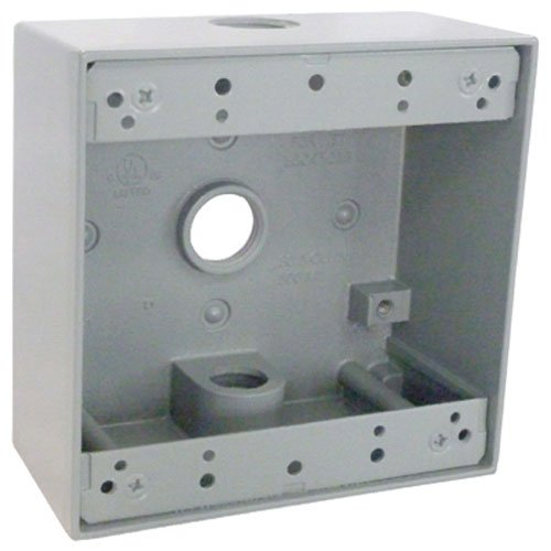HUBBELL ELECTRICAL PRODUCTS GRAY WEATHERPROOF 2-GANG OUTLET BOX