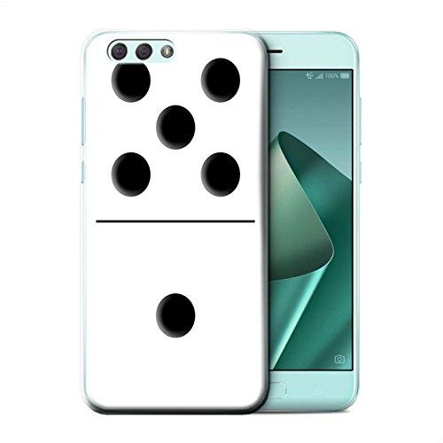 Stuff4® Hülle/Case für ASUS Zenfone 4 ZE554KL / Weiß Kachel 5/1 Muster/Domino/Dominos Kollektion (Domino-muster)