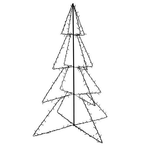 vidaXL Weihnachtsbaum 240 LEDs Innen Außen Pyramide Christbaum Metallbaum Weihnachtsdeko Lichterpyramide Deko Weihnachten 115x150cm Metall