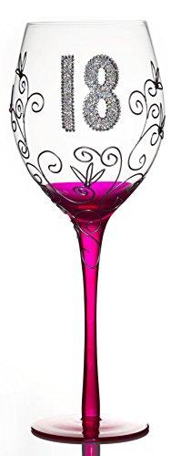 Boxer Pinkes Wein Glas zum 18.Geburtstag