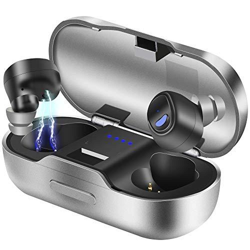 Bluetooth Kopfhörer, BEVA Kabelloses Headset in Ear Bluetooth 5.0 Headset True Wireless Kopfhörer IPX7 Wasserdicht Sport Kopfhörer mit Ladekästchen und Integriertem Mikrofon für iOS Android (Schwarz) -