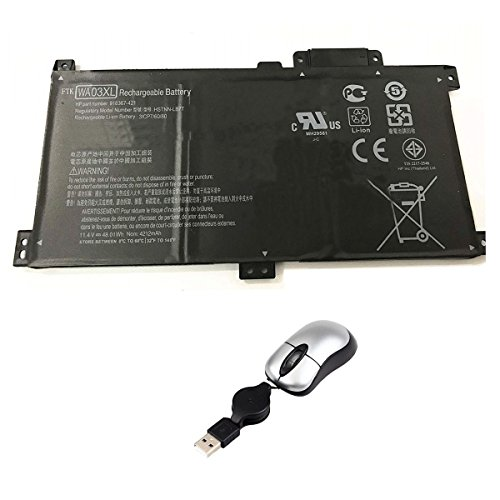 Amsahr WA03XL-05 - Batería de reemplazo para HP WA03XL, 916367-541, 916812-055, HSTNN-UB7H, TPN-W126, HSTNN-LB7T (Incluye Mini ratón óptico) Color Gris