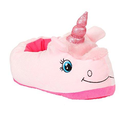 Damen Kinder Mädchen 3D Neuheit Tier Charakter Plüsch Hausschuhe Damen Kinder Beute Pudel Bulldog Panda Kaninchen Schuhe Größe UK 3–8, Pink - Rosa, Einhorn - Größe: 38/39 EU