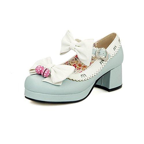 VogueZone009 Femme Boucle à Talon Correct Pu Cuir Couleurs Mélangées Chaussures Légeres Bleu