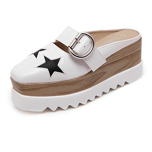 White Patent Slingback (YAN Neu 2019 Frauen Sandalen Slippers Patent Leder Mode Wedge Heel Schuhe Leisure Slingback Schuhe White Black,White,39)